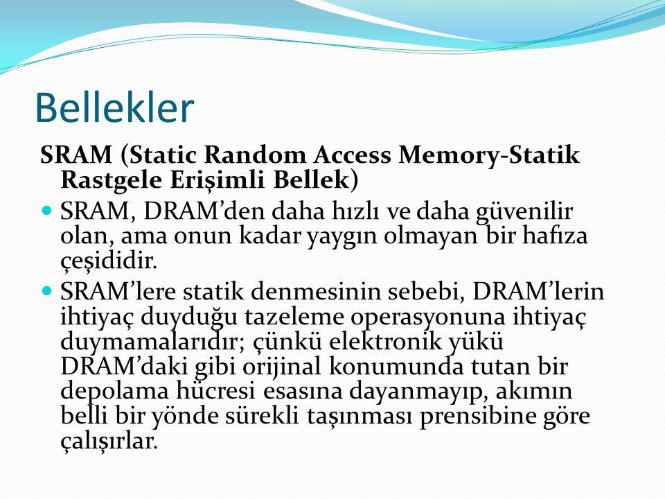 Bellekler SRAM (Static Random Access Memory-Statik Rastgele Erişimli Bellek) SRAM, DRAM'den daha hızlı ve daha güvenilir olan, ama onun kadar yaygın olmayan bir hafıza çeşididir.
