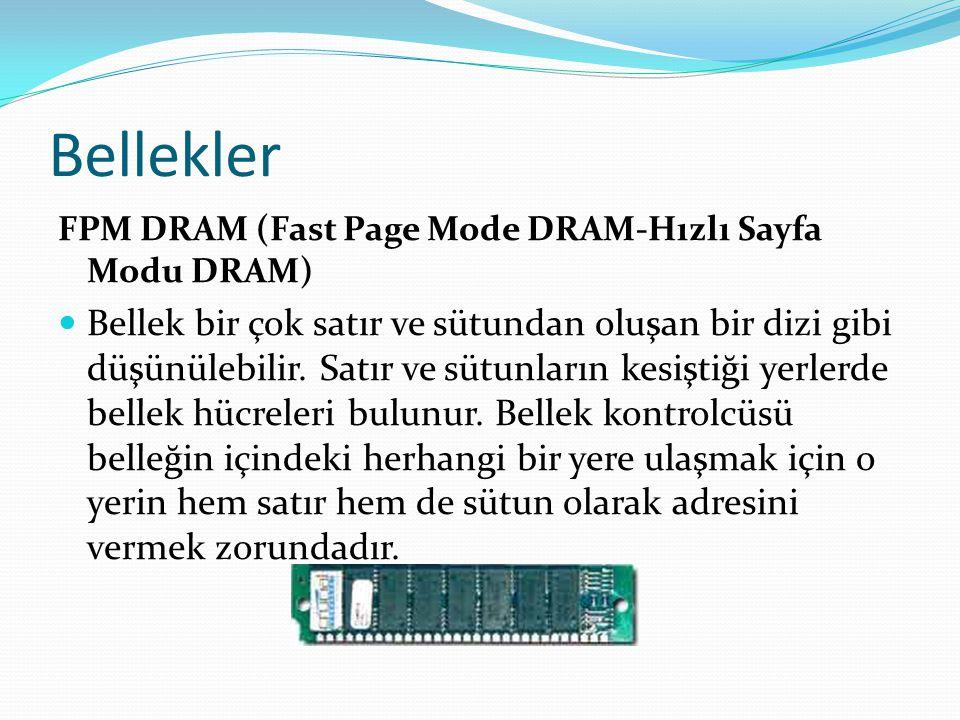 Bellekler FPM DRAM (Fast Page Mode DRAM-Hızlı Sayfa Modu DRAM) Bellek bir çok satır ve sütundan oluşan bir dizi gibi düşünülebilir.