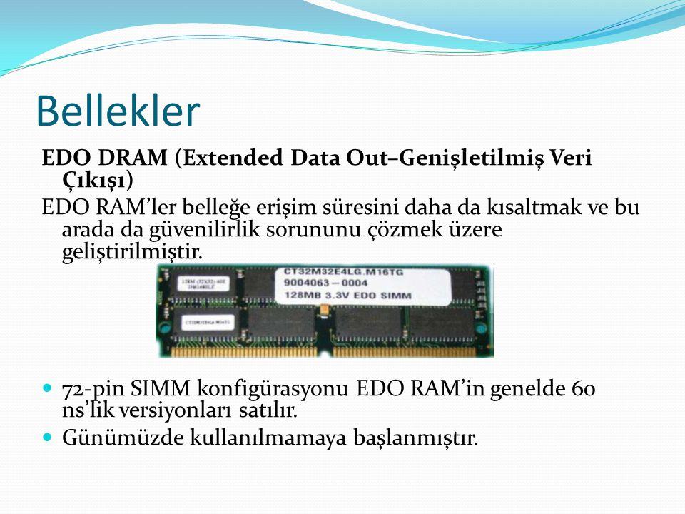 Bellekler EDO DRAM (Extended Data Out–Genişletilmiş Veri Çıkışı) EDO RAM'ler belleğe erişim süresini daha da kısaltmak ve bu arada da güvenilirlik sorununu çözmek üzere geliştirilmiştir.