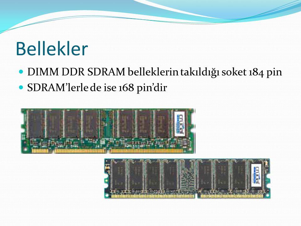 Bellekler DIMM DDR SDRAM belleklerin takıldığı soket 184 pin SDRAM'lerle de ise 168 pin'dir