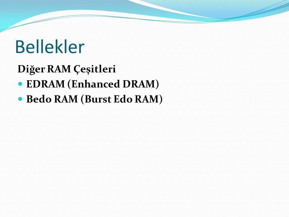 Bellekler Diğer RAM Çeşitleri EDRAM (Enhanced DRAM) Bedo RAM (Burst Edo RAM)