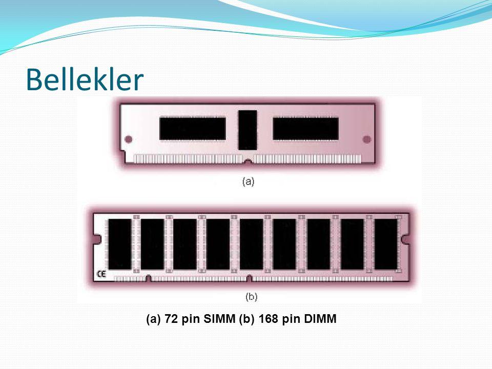 Bellekler (a) 72 pin SIMM (b) 168 pin DIMM
