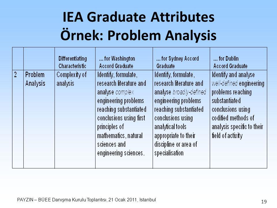 PAYZIN – BÜEE Danışma Kurulu Toplantısı, 21 Ocak 2011, Istanbul 19 IEA Graduate Attributes Örnek: Problem Analysis