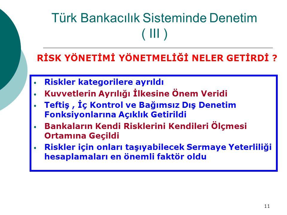 11 Türk Bankacılık Sisteminde Denetim ( III ) Riskler kategorilere ayrıldı Kuvvetlerin Ayrılığı İlkesine Önem Veridi Teftiş, İç Kontrol ve Bağımsız Dış Denetim Fonksiyonlarına Açıklık Getirildi Bankaların Kendi Risklerini Kendileri Ölçmesi Ortamına Geçildi Riskler için onları taşıyabilecek Sermaye Yeterliliği hesaplamaları en önemli faktör oldu RİSK YÖNETİMİ YÖNETMELİĞİ NELER GETİRDİ ?
