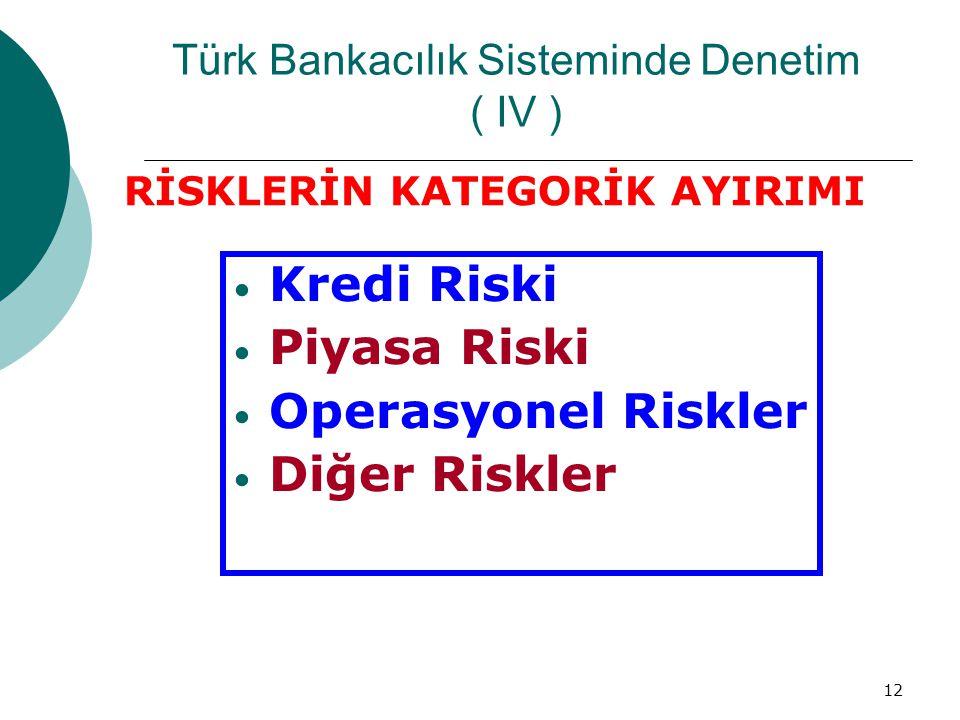 12 Türk Bankacılık Sisteminde Denetim ( IV ) Kredi Riski Piyasa Riski Operasyonel Riskler Diğer Riskler RİSKLERİN KATEGORİK AYIRIMI