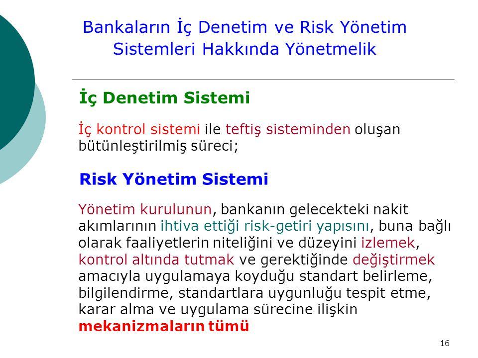 16 İç Denetim Sistemi İç kontrol sistemi ile teftiş sisteminden oluşan bütünleştirilmiş süreci; Bankaların İç Denetim ve Risk Yönetim Sistemleri Hakkında Yönetmelik Risk Yönetim Sistemi Yönetim kurulunun, bankanın gelecekteki nakit akımlarının ihtiva ettiği risk-getiri yapısını, buna bağlı olarak faaliyetlerin niteliğini ve düzeyini izlemek, kontrol altında tutmak ve gerektiğinde değiştirmek amacıyla uygulamaya koyduğu standart belirleme, bilgilendirme, standartlara uygunluğu tespit etme, karar alma ve uygulama sürecine ilişkin mekanizmaların tümü