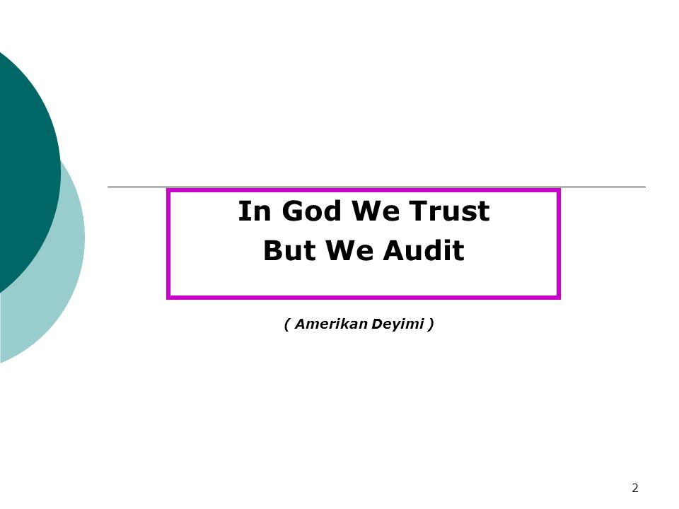 2 In God We Trust But We Audit ( Amerikan Deyimi )