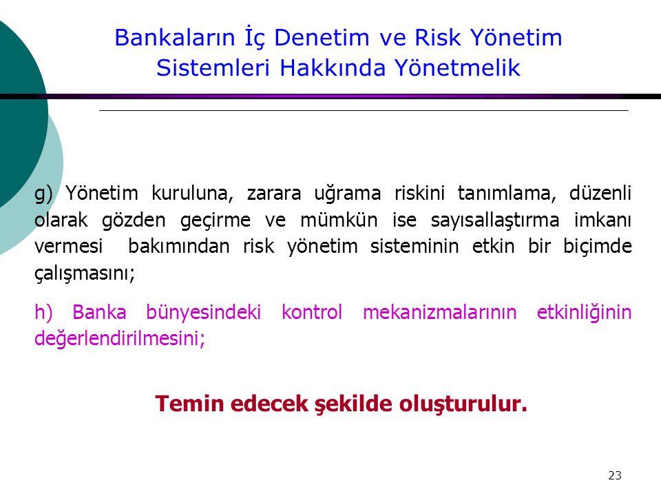 23 g) Yönetim kuruluna, zarara uğrama riskini tanımlama, düzenli olarak gözden geçirme ve mümkün ise sayısallaştırma imkanı vermesi bakımından risk yönetim sisteminin etkin bir biçimde çalışmasını; h) Banka bünyesindeki kontrol mekanizmalarının etkinliğinin değerlendirilmesini; Temin edecek şekilde oluşturulur.