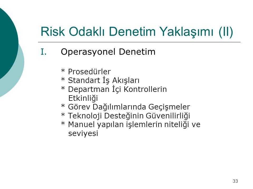 33 Risk Odaklı Denetim Yaklaşımı (II) I.Operasyonel Denetim * Prosedürler * Standart İş Akışları * Departman İçi Kontrollerin Etkinliği * Görev Dağılımlarında Geçişmeler * Teknoloji Desteğinin Güvenilirliği * Manuel yapılan işlemlerin niteliği ve seviyesi