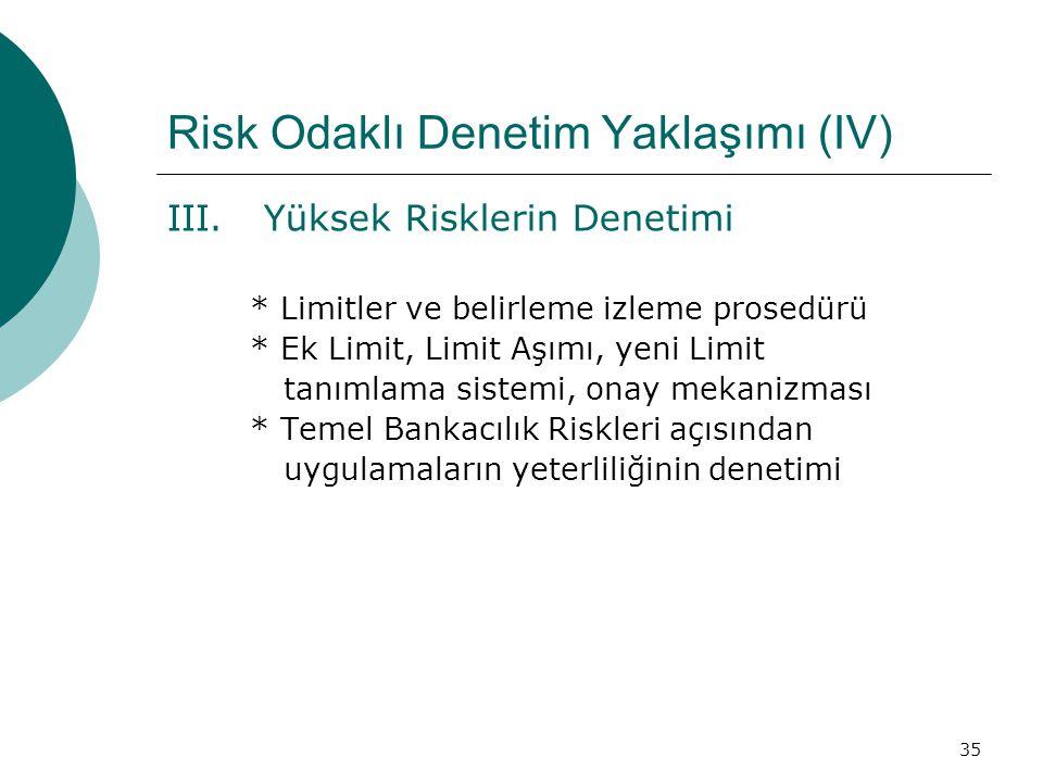 35 Risk Odaklı Denetim Yaklaşımı (IV) III.