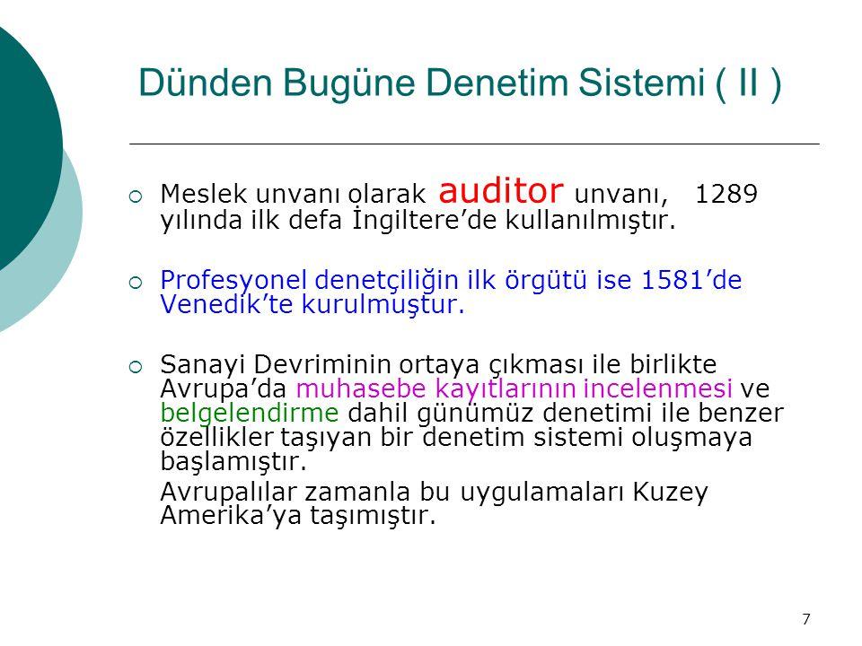 18 Türk Bankacılık Sisteminde Denetim  Departman İçi Kontroller  İç Kontrol Birimi ( Internal Control )  Teftiş ( Internal Audit )  Dış Denetim  Bankalar Yeminli Murakıpları  S P K Murakıpları  Uluslar arası Denetim ( Yabancı Bankalarda )