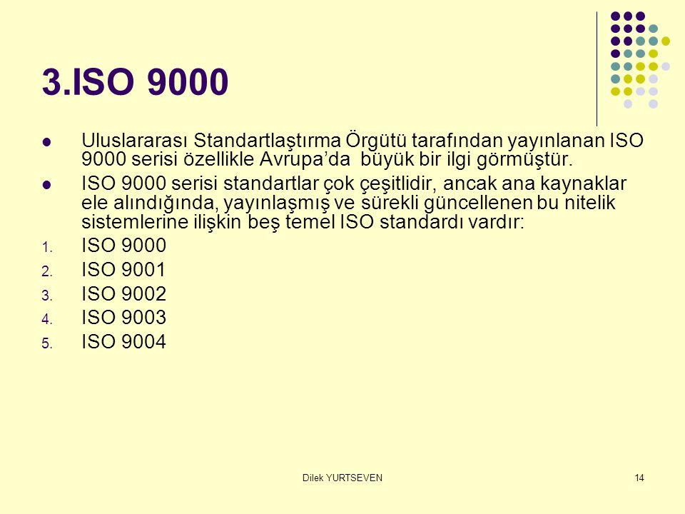 Dilek YURTSEVEN14 3.ISO 9000 Uluslararası Standartlaştırma Örgütü tarafından yayınlanan ISO 9000 serisi özellikle Avrupa'da büyük bir ilgi görmüştür.