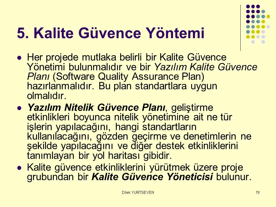 Dilek YURTSEVEN19 5. Kalite Güvence Yöntemi Her projede mutlaka belirli bir Kalite Güvence Yönetimi bulunmalıdır ve bir Yazılım Kalite Güvence Planı (