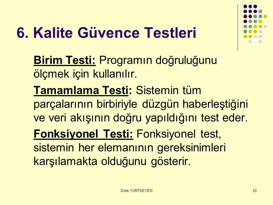 Dilek YURTSEVEN20 6. Kalite Güvence Testleri Birim Testi: Programın doğruluğunu ölçmek için kullanılır. Tamamlama Testi: Sistemin tüm parçalarının bir
