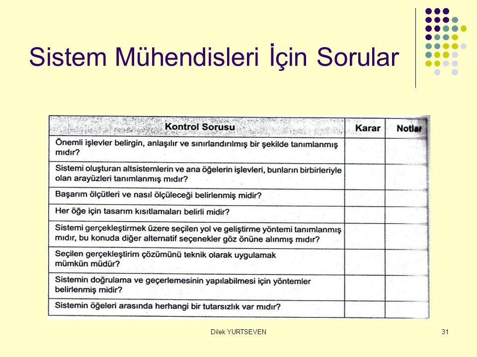Dilek YURTSEVEN31 Sistem Mühendisleri İçin Sorular