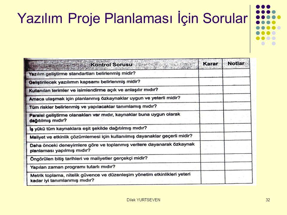 Dilek YURTSEVEN32 Yazılım Proje Planlaması İçin Sorular