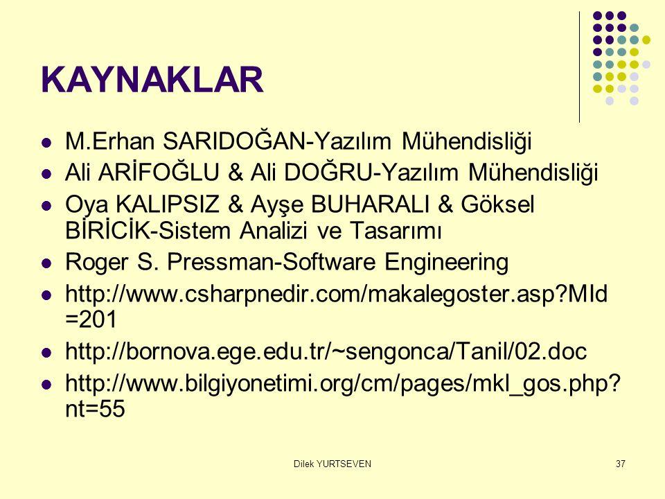 Dilek YURTSEVEN37 KAYNAKLAR M.Erhan SARIDOĞAN-Yazılım Mühendisliği Ali ARİFOĞLU & Ali DOĞRU-Yazılım Mühendisliği Oya KALIPSIZ & Ayşe BUHARALI & Göksel