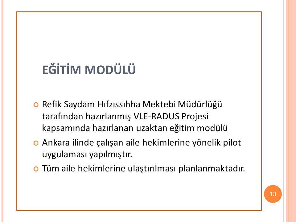EĞİTİM MODÜLÜ Refik Saydam Hıfzıssıhha Mektebi Müdürlüğü tarafından hazırlanmış VLE-RADUS Projesi kapsamında hazırlanan uzaktan eğitim modülü Ankara ilinde çalışan aile hekimlerine yönelik pilot uygulaması yapılmıştır.