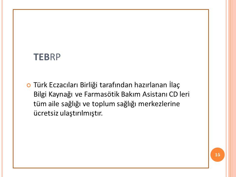 TEBRP Türk Eczacıları Birliği tarafından hazırlanan İlaç Bilgi Kaynağı ve Farmasötik Bakım Asistanı CD leri tüm aile sağlığı ve toplum sağlığı merkezlerine ücretsiz ulaştırılmıştır.