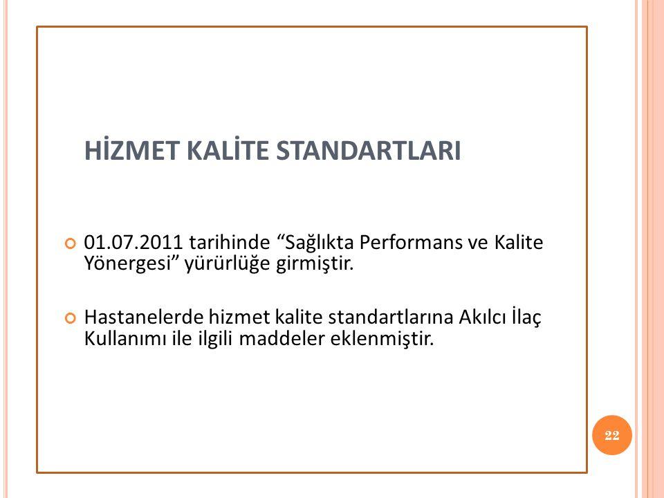 HİZMET KALİTE STANDARTLARI 01.07.2011 tarihinde Sağlıkta Performans ve Kalite Yönergesi yürürlüğe girmiştir.