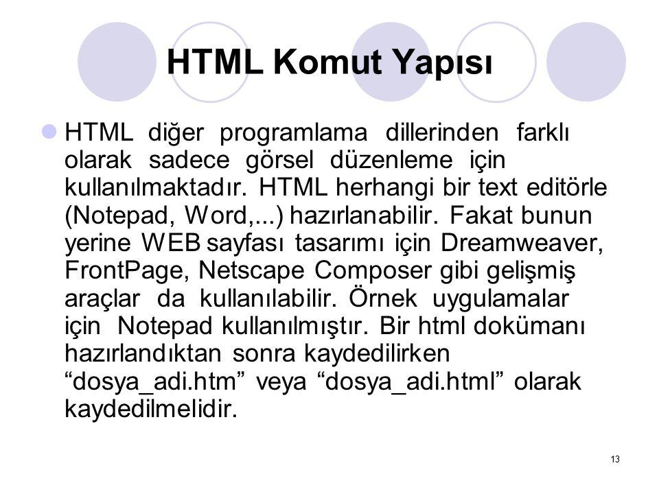 HTML Komut Yapısı HTML diğer programlama dillerinden farklı olarak sadece görsel düzenleme için kullanılmaktadır. HTML herhangi bir text editörle (Not