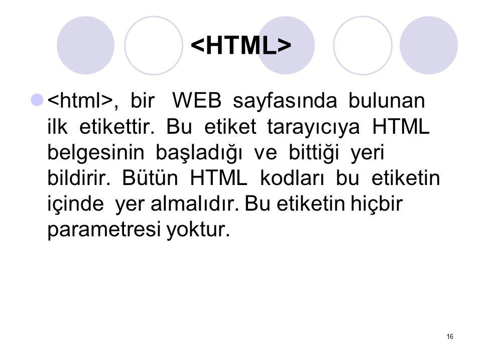 , bir WEB sayfasında bulunan ilk etikettir. Bu etiket tarayıcıya HTML belgesinin başladığı ve bittiği yeri bildirir. Bütün HTML kodları bu etiketin iç