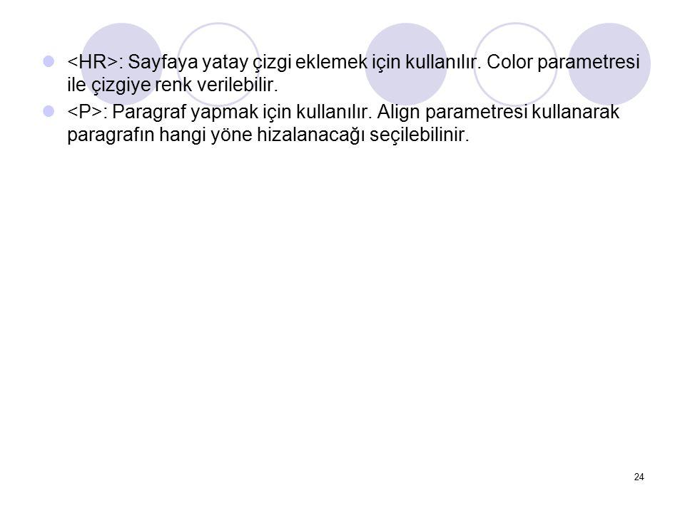 : Sayfaya yatay çizgi eklemek için kullanılır. Color parametresi ile çizgiye renk verilebilir. : Paragraf yapmak için kullanılır. Align parametresi ku