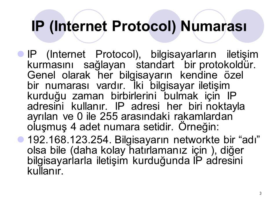IP (Internet Protocol) Numarası IP (Internet Protocol), bilgisayarların iletişim kurmasını sağlayan standart bir protokoldür. Genel olarak her bilgisa