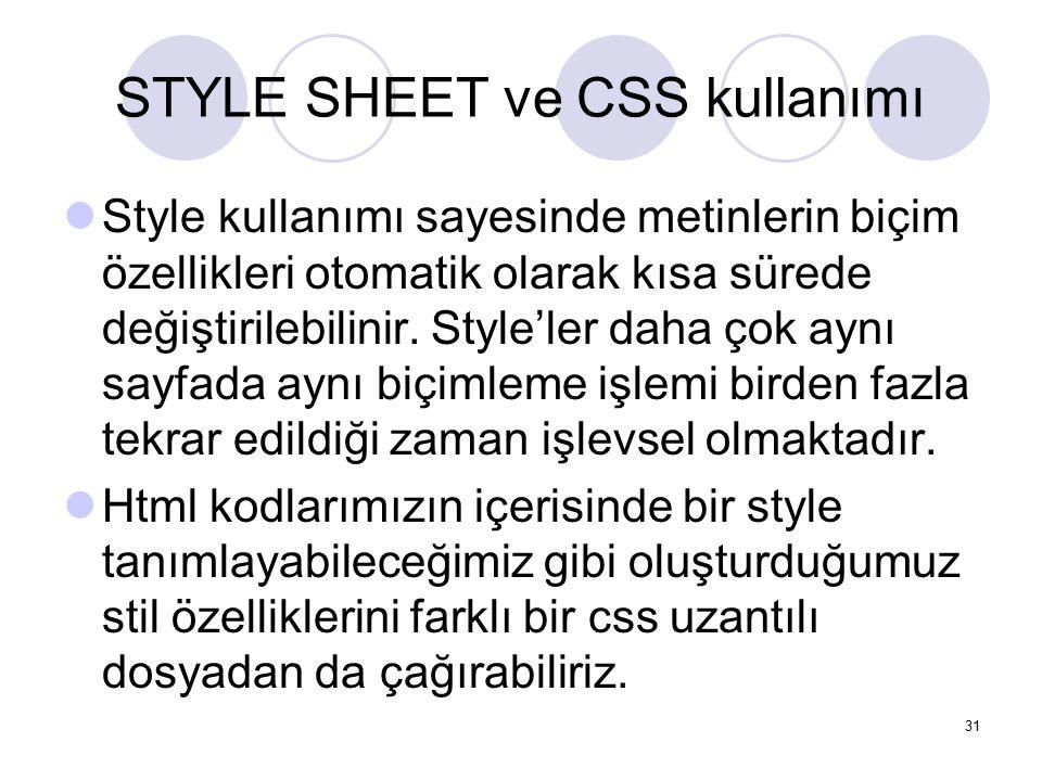 STYLE SHEET ve CSS kullanımı Style kullanımı sayesinde metinlerin biçim özellikleri otomatik olarak kısa sürede değiştirilebilinir. Style'ler daha çok