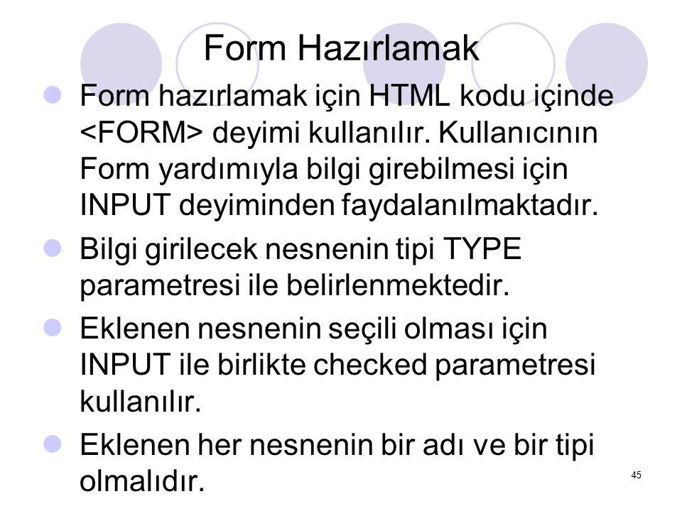 Form Hazırlamak Form hazırlamak için HTML kodu içinde deyimi kullanılır. Kullanıcının Form yardımıyla bilgi girebilmesi için INPUT deyiminden faydalan