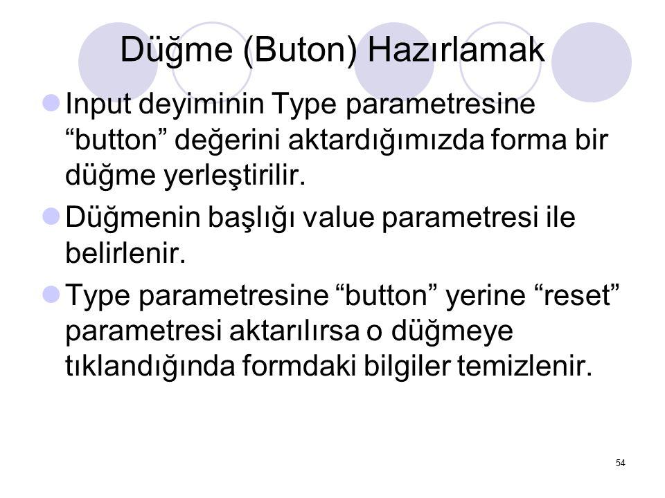 """Düğme (Buton) Hazırlamak Input deyiminin Type parametresine """"button"""" değerini aktardığımızda forma bir düğme yerleştirilir. Düğmenin başlığı value par"""