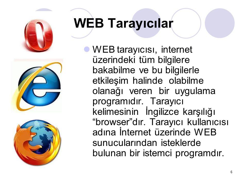 WEB Tarayıcılar WEB tarayıcısı, internet üzerindeki tüm bilgilere bakabilme ve bu bilgilerle etkileşim halinde olabilme olanağı veren bir uygulama pro