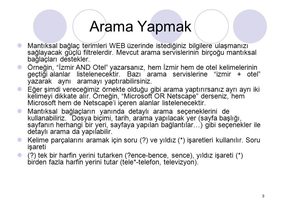 Web Sayfası Hazırlarken Dikkat Edilecek Noktalar Sayfa adında ya da sayfada yer alan herhangi bir resim ya da animasyonlar kaydedilirken asla Türkçe ve özel karakterler (ğ,ü,ş,İ,?,\ vs.) kullanılmaz.