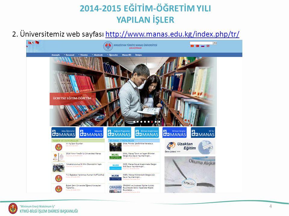 4 2. Üniversitemiz web sayfası http://www.manas.edu.kg/index.php/tr/http://www.manas.edu.kg/index.php/tr/ 2014-2015 EĞİTİM-ÖĞRETİM YILI YAPILAN İŞLER