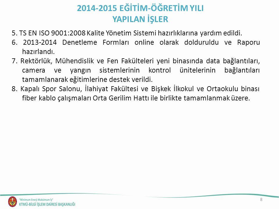 8 5. TS EN ISO 9001:2008 Kalite Yönetim Sistemi hazırlıklarına yardım edildi.