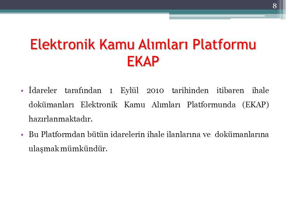 Elektronik Kamu Alımları Platformu EKAP İdareler tarafından 1 Eylül 2010 tarihinden itibaren ihale dokümanları Elektronik Kamu Alımları Platformunda (