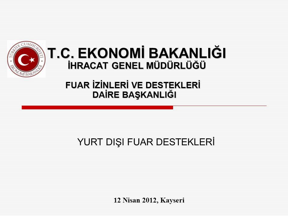 T.C. EKONOMİ BAKANLIĞI İHRACAT GENEL MÜDÜRLÜĞÜ FUAR İZİNLERİ VE DESTEKLERİ DAİRE BAŞKANLIĞI YURT DIŞI FUAR DESTEKLERİ 12 Nisan 2012, Kayseri