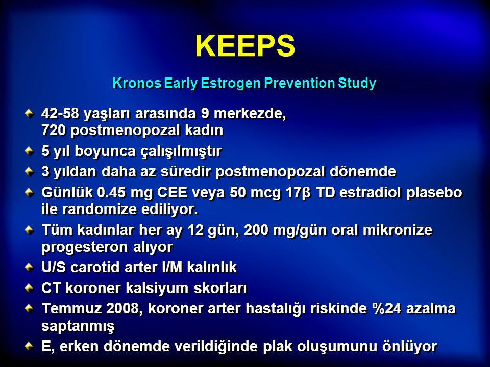 KEEPS 42-58 yaşları arasında 9 merkezde, 720 postmenopozal kadın 5 yıl boyunca çalışılmıştır 3 yıldan daha az süredir postmenopozal dönemde Günlük 0.4