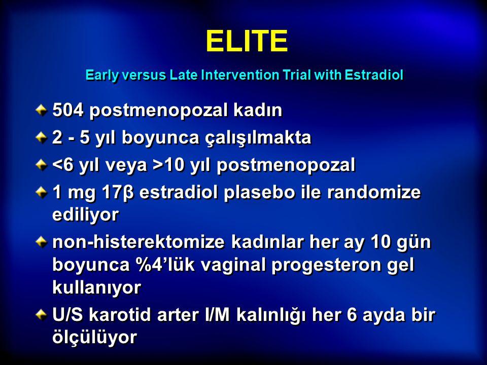 ELITE 504 postmenopozal kadın 2 - 5 yıl boyunca çalışılmakta 10 yıl postmenopozal 1 mg 17β estradiol plasebo ile randomize ediliyor non-histerektomize