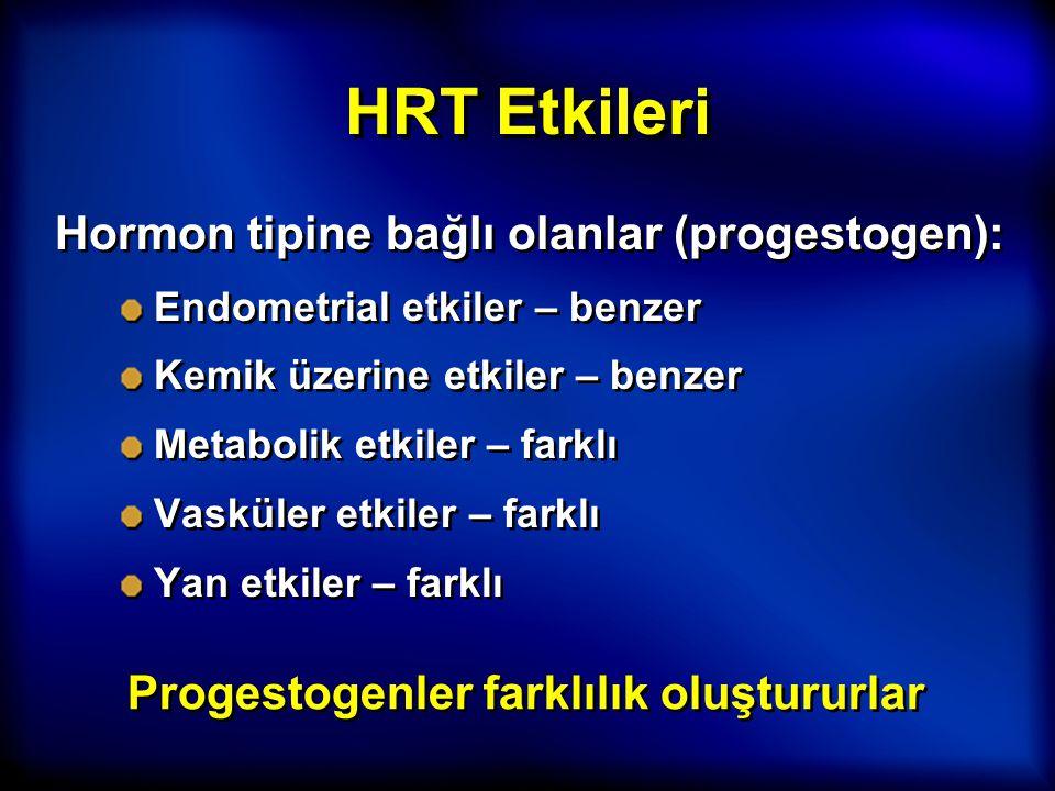 HRT Etkileri Hormon tipine bağlı olanlar (progestogen): Endometrial etkiler – benzer Kemik üzerine etkiler – benzer Metabolik etkiler – farklı Vasküle