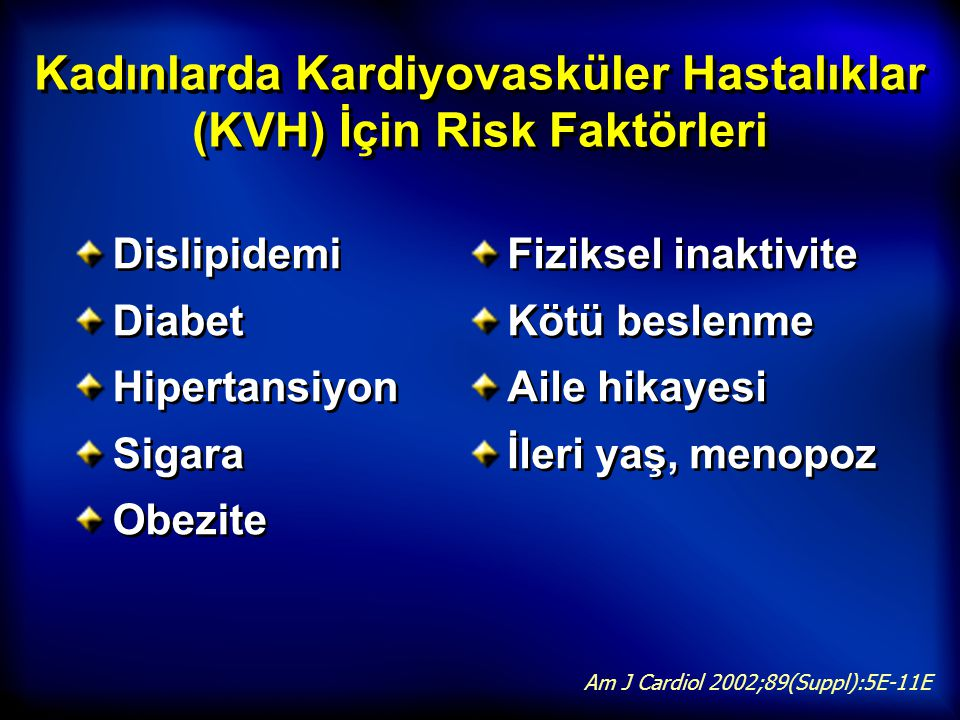 Kadınlarda Kardiyovasküler Hastalıklar (KVH) İçin Risk Faktörleri Dislipidemi Diabet Hipertansiyon Sigara Obezite Dislipidemi Diabet Hipertansiyon Sig