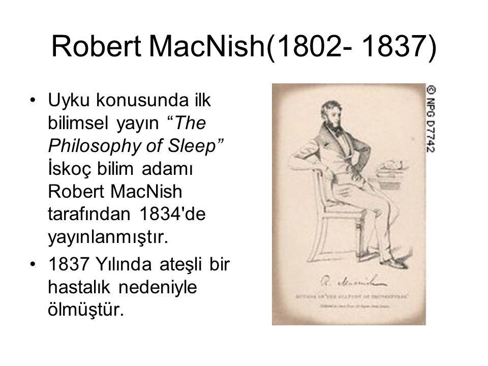"""Robert MacNish(1802- 1837) Uyku konusunda ilk bilimsel yayın """"The Philosophy of Sleep"""" İskoç bilim adamı Robert MacNish tarafından 1834'de yayınlanmış"""