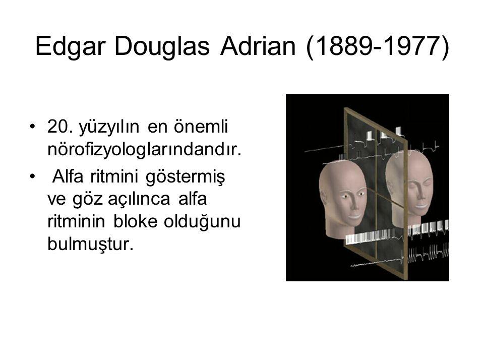 Edgar Douglas Adrian (1889-1977) 20. yüzyılın en önemli nörofizyologlarındandır. Alfa ritmini göstermiş ve göz açılınca alfa ritminin bloke olduğunu b