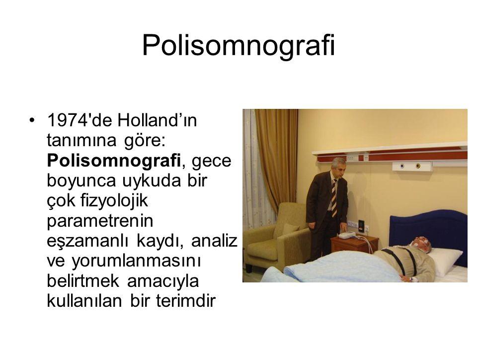 Polisomnografi 1974'de Holland'ın tanımına göre: Polisomnografi, gece boyunca uykuda bir çok fizyolojik parametrenin eşzamanlı kaydı, analiz ve yoruml