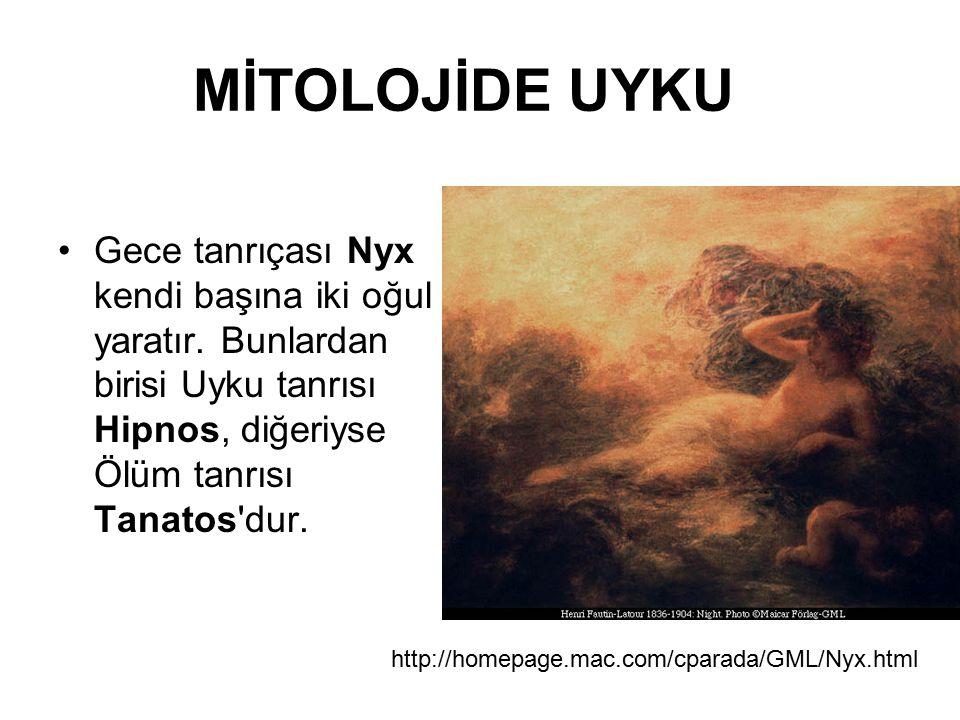 MİTOLOJİDE UYKU Gece tanrıçası Nyx kendi başına iki oğul yaratır. Bunlardan birisi Uyku tanrısı Hipnos, diğeriyse Ölüm tanrısı Tanatos'dur. http://hom