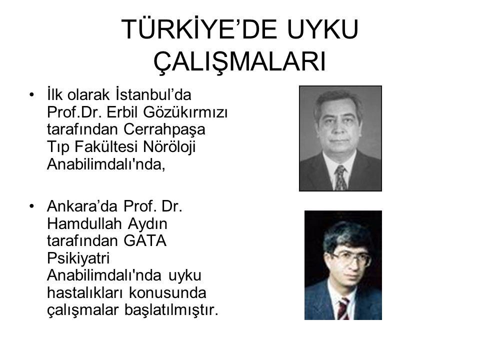 TÜRKİYE'DE UYKU ÇALIŞMALARI İlk olarak İstanbul'da Prof.Dr. Erbil Gözükırmızı tarafından Cerrahpaşa Tıp Fakültesi Nöröloji Anabilimdalı'nda, Ankara'da