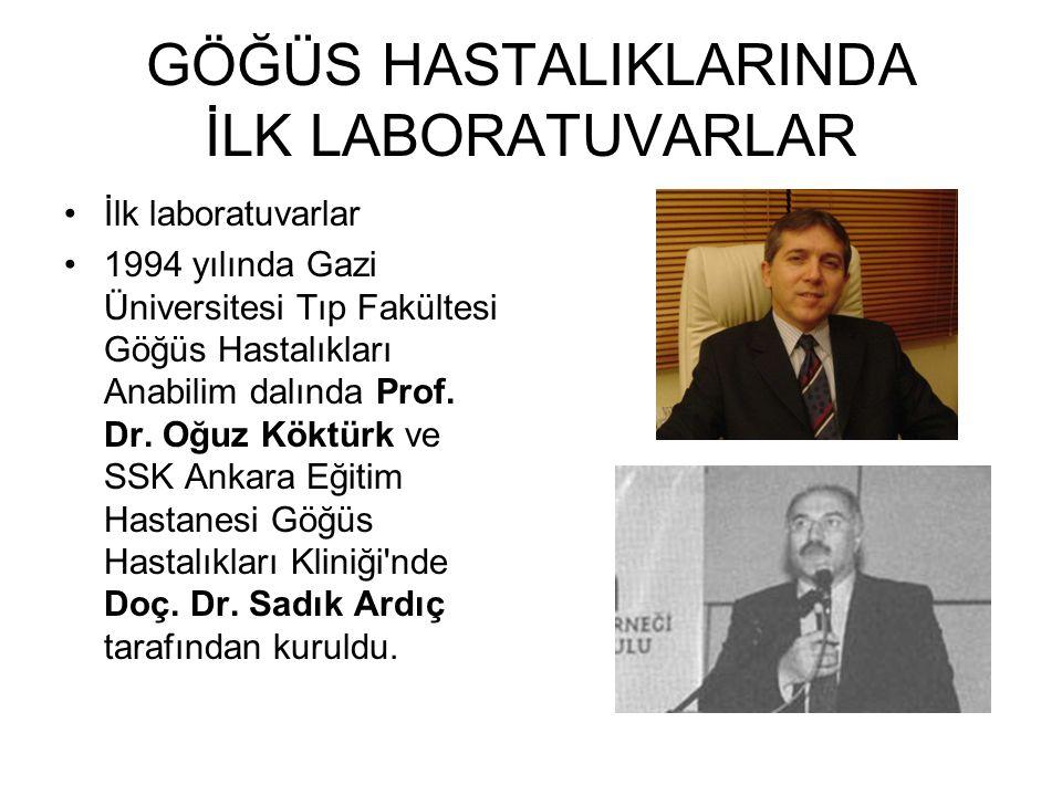 GÖĞÜS HASTALIKLARINDA İLK LABORATUVARLAR İlk laboratuvarlar 1994 yılında Gazi Üniversitesi Tıp Fakültesi Göğüs Hastalıkları Anabilim dalında Prof. Dr.