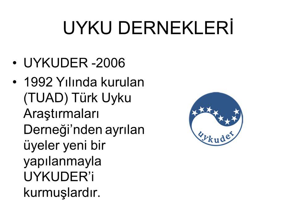 UYKU DERNEKLERİ UYKUDER -2006 1992 Yılında kurulan (TUAD) Türk Uyku Araştırmaları Derneği'nden ayrılan üyeler yeni bir yapılanmayla UYKUDER'i kurmuşla
