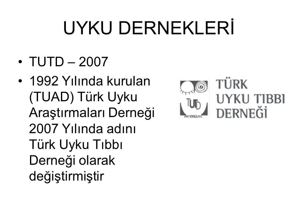UYKU DERNEKLERİ TUTD – 2007 1992 Yılında kurulan (TUAD) Türk Uyku Araştırmaları Derneği 2007 Yılında adını Türk Uyku Tıbbı Derneği olarak değiştirmişt