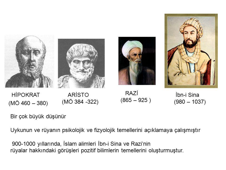 HİPOKRAT (MÖ 460 – 380) ARİSTO (MÖ 384 -322) İbn-i Sina (980 – 1037) RAZİ (865 – 925 ) Bir çok büyük düşünür Uykunun ve rüyanın psikolojik ve fizyoloj